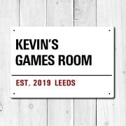 Personalised 'Games Room' Metal Sign