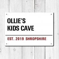 Personalised 'Kid's Cave' Metal Sign