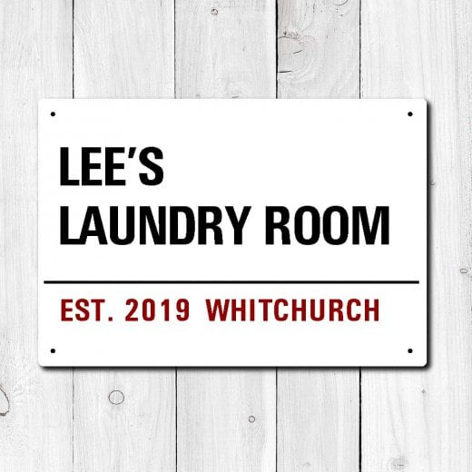 Wall Chimp Personalised 'Laundry Room' Metal Sign