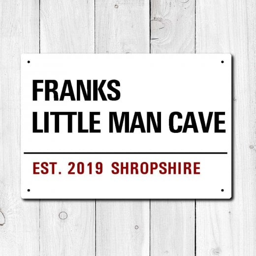 Wall Chimp Personalised 'Little Man Cave' Metal Sign