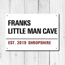 Personalised 'Little Man Cave' Metal Sign