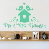 Personalised Love Birds Wall Sticker