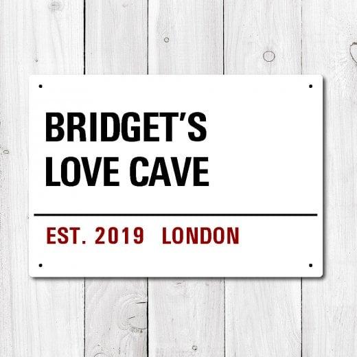 Wall Chimp Personalised 'Love Cave' Metal Sign