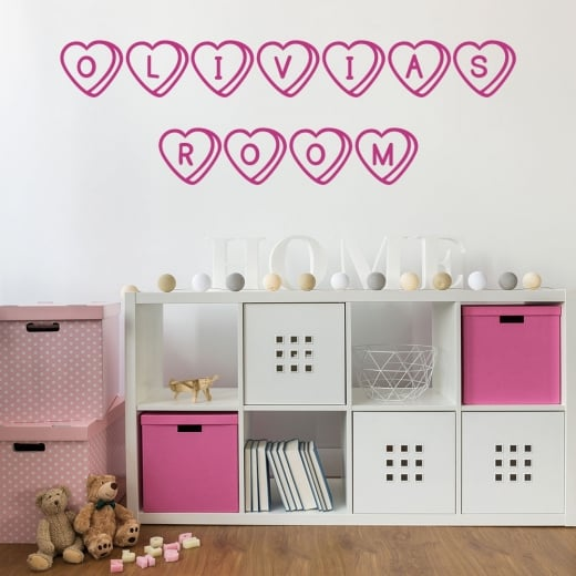 Wall Chimp Personalised Love Heart Sweets Font Wall Sticker