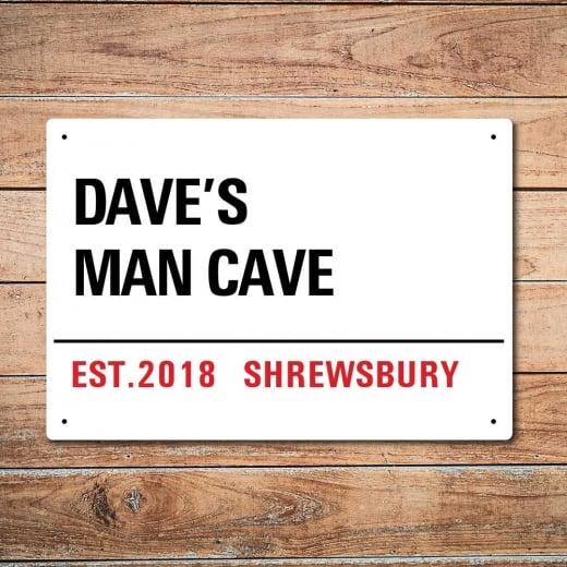 Wall Chimp Personalised Man Cave London Metal Sign
