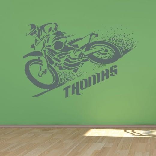 Wall Chimp Personalised Motorcross Wall Sticker