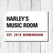 Personalised 'Music Room' Metal Sign