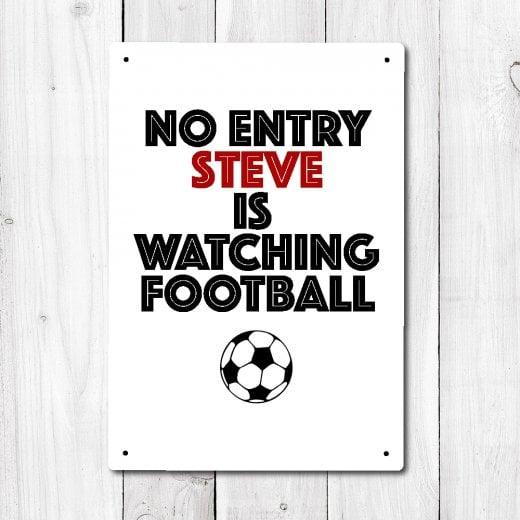 Wall Chimp Personalised No Entry Football Metal Sign With Your Name