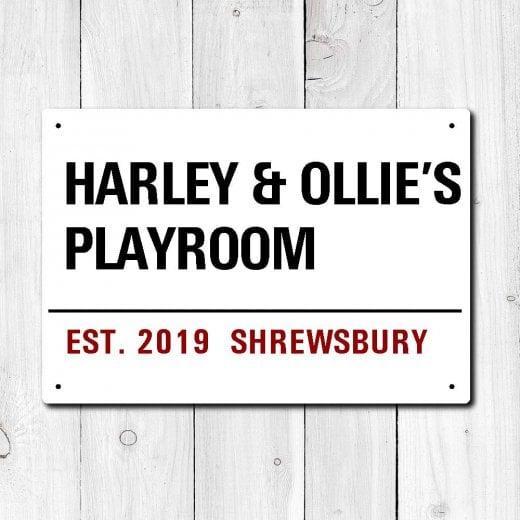 Wall Chimp Personalised 'Playroom' Metal Sign