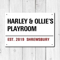 Personalised 'Playroom' Metal Sign