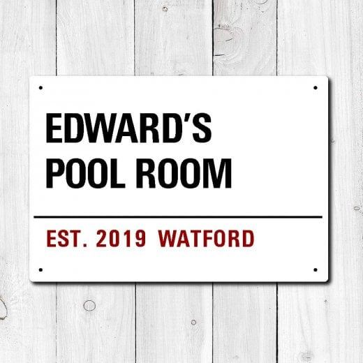 Wall Chimp Personalised 'Pool Room' Metal Sign
