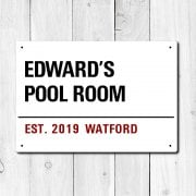 Personalised 'Pool Room' Metal Sign