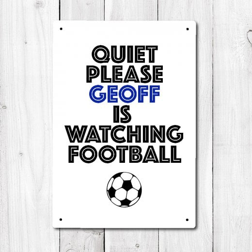 Wall Chimp Personalised Quiet Please Football Metal Sign With Your Name