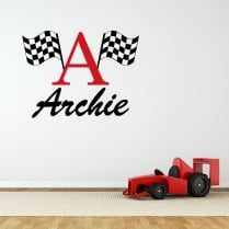 Personalised Race Flag Wall Sticker