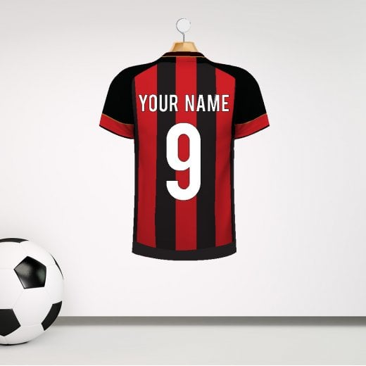 Wall Chimp Personalised Red & Black Football Striped Shirt Wall Sticker With Your Name & Number