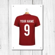 Personalised Red Football Shirt Metal Sign With Your Name & Number