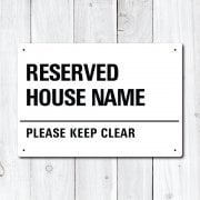 Personalised 'Reserved' House Name Metal Sign
