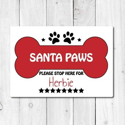 Wall Chimp Personalised 'Santa Paws' Metal Sign