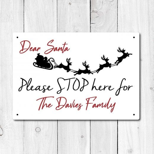 Wall Chimp Personalised 'Santa Stop Here' Metal Sign