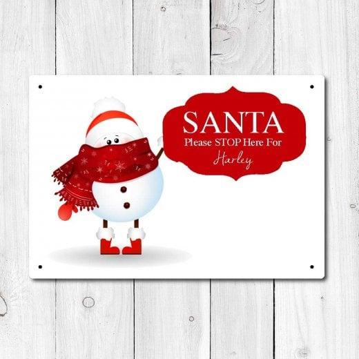 Wall Chimp Personalised 'Santa Stop Here' Metal Sign
