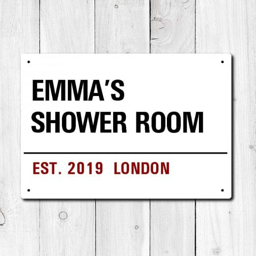 Wall Chimp Personalised 'Shower Room' Metal Sign