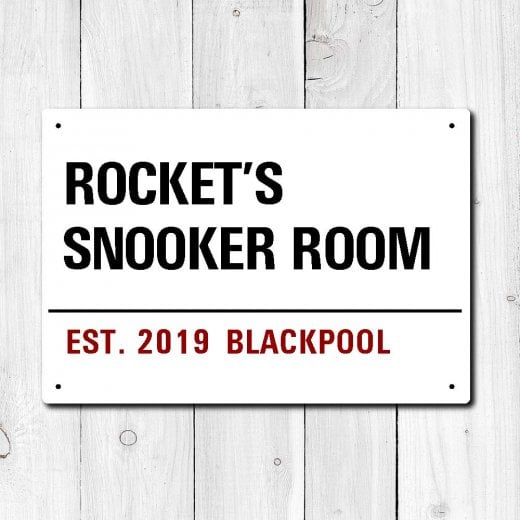 Wall Chimp Personalised 'Snooker Room' Metal Sign