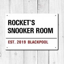 Personalised 'Snooker Room' Metal Sign
