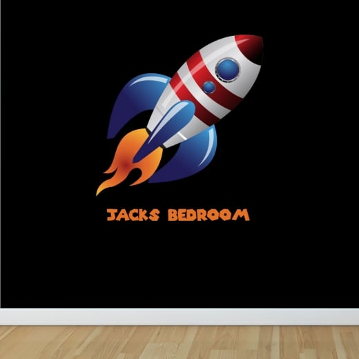 Wall Chimp Personalised Space Rocket Printed Wall Sticker