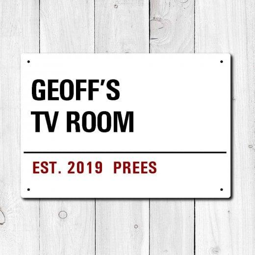 Wall Chimp Personalised 'TV Room' Metal Sign