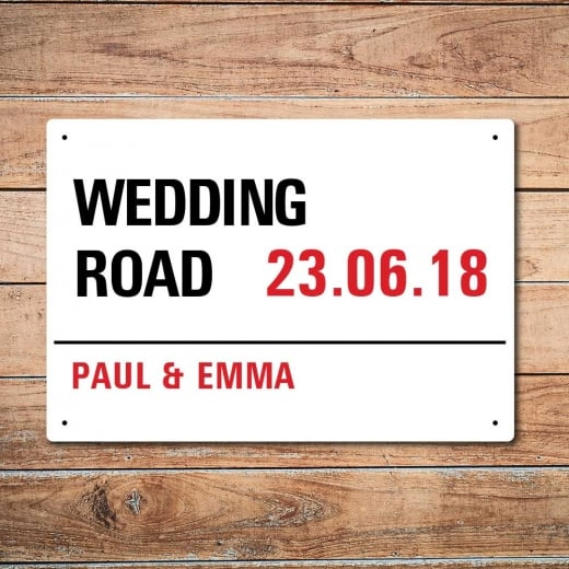 Wall Chimp Personalised Wedding Day London Metal Sign