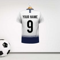 Personalised White & Blue Football Shirt Wall Sticker With Your Name & Number