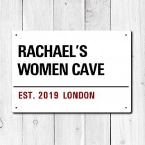 Personalised 'Women Cave' Metal Sign