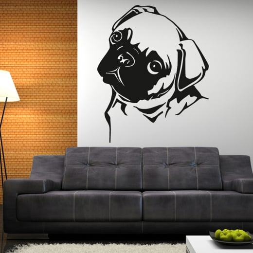 Wall Chimp Pug Dog Head Wall Sticker