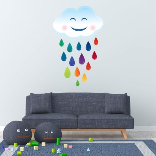 Wall Chimp Rainbow Rain Cloud Printed Wall Sticker