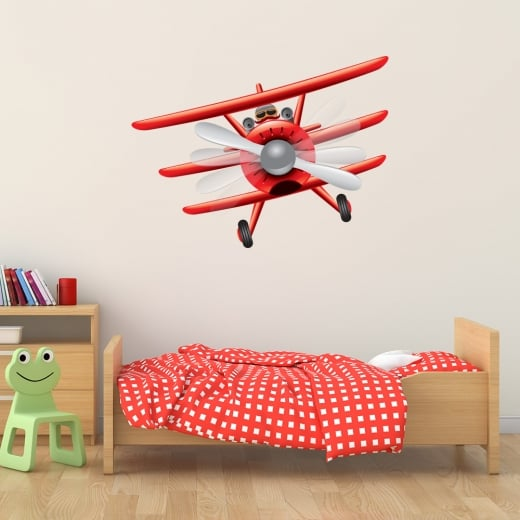 Wall Chimp Red Baron Bi-Plane Printed Wall Sticker