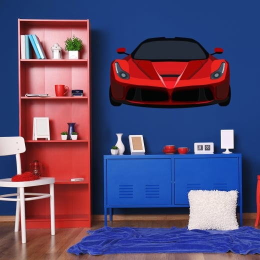 Wall Chimp Red Sports Car Printed Wall Sticker