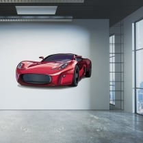 Red Sports Car Printed Wall Sticker