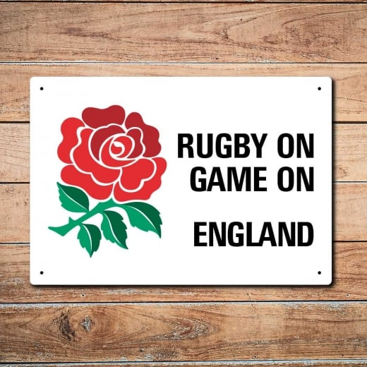 Wall Chimp Rugby On Game On England Rugby Metal Sign