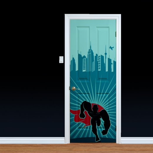 Wall Chimp Running Superhero Custom Printed Door