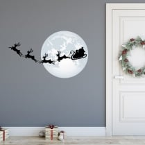 Santa On His Way Printed Wall Sticker