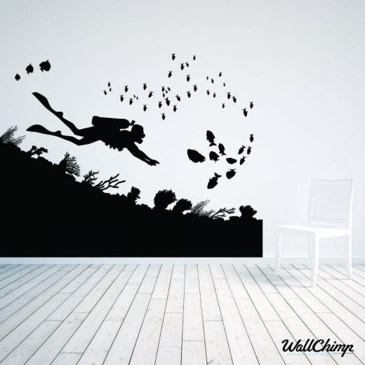Wall Chimp Scuba Diver Underwater Scene Wall Sticker