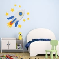 Space Rocket & Stars Printed Wall Sticker