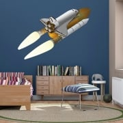 Space Shuttle And Rocket Printed Wall Sticker