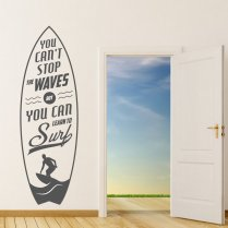 Stop The Waves Surfer Wall Sticker Quote