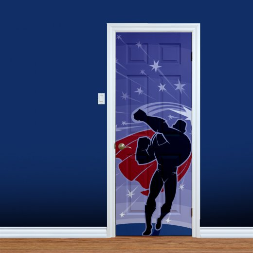 Wall Chimp Super Hero Punching Printed Door