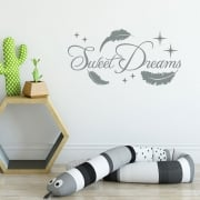Sweet Dreams Feather Wall Sticker Quote