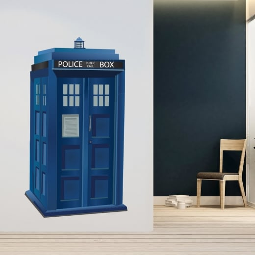 Wall Chimp Tardis Police Box Printed Wall Sticker