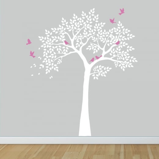 Wall Chimp The Summer Tree With Birds Wall Sticker