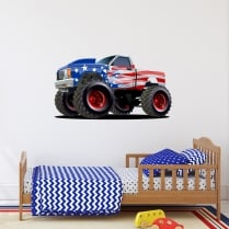 USA Monster Truck Printed Wall Sticker