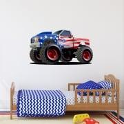 USA Monster Truck Printed Wall Sticker